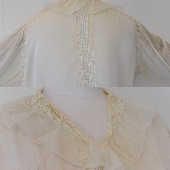 Antique 1900s White Voile Floral Embroidered Blou… - image 9