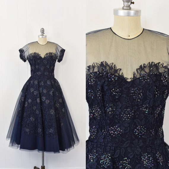 1950's Midnight Blue Sequin Tulle Party Dress