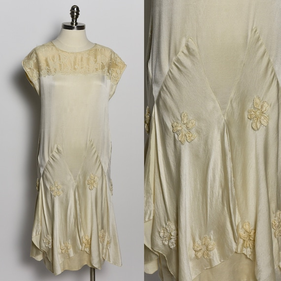 1920's Ivory Silk & Lace Dress