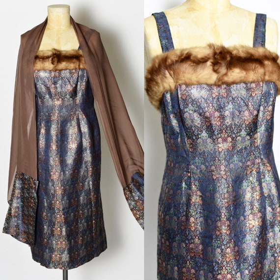 1950's Brocade Mink Trimmed Dress with Matching Wr