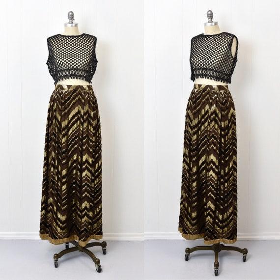 1970s Adolfo Chevron Metallic Skirt - image 1