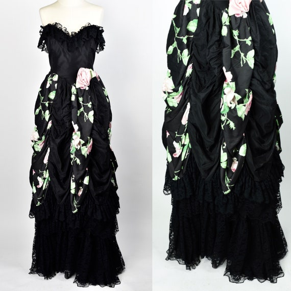 1980's Dramatic Floral Gown