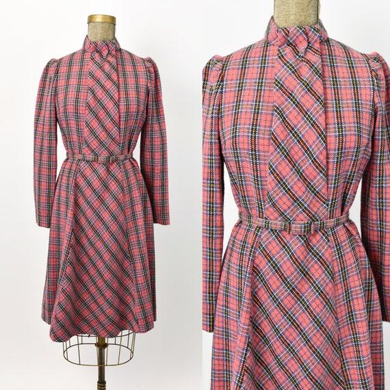 1960's Pink Plaid Wool Dress