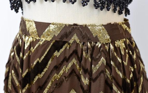 1970s Adolfo Chevron Metallic Skirt - image 7