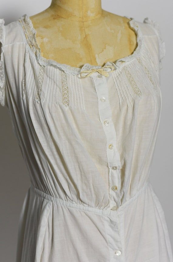 Antique Edwardian 1900's White Cotton Dress/Under… - image 3