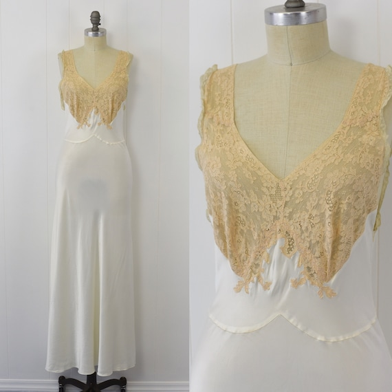 1940's Ivory Ecru Lace Nightgown