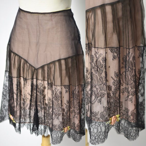 1920's Black & Pink Chantilly Lace Lingerie Slip