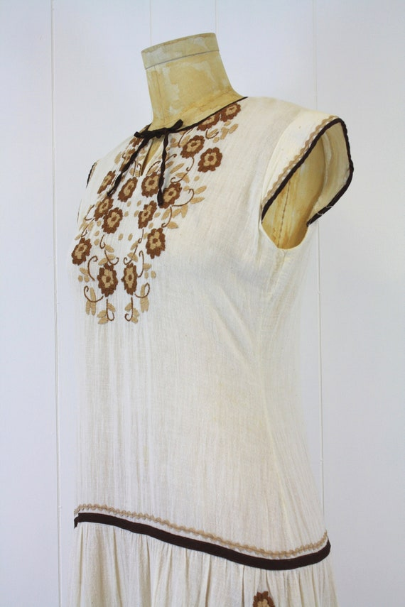 1970s Embroidered Cotton Gauze Peasant Dress - image 6