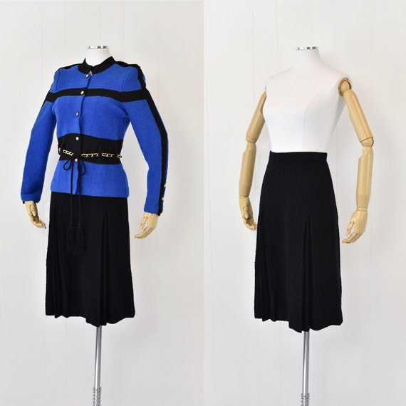 1980's Adolfo Blue & Black Two Piece Set