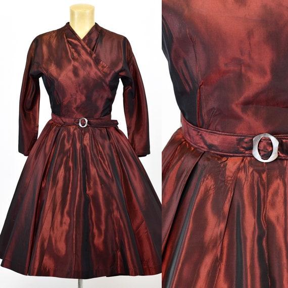 1950's Red Sharkskin Taffeta Dress