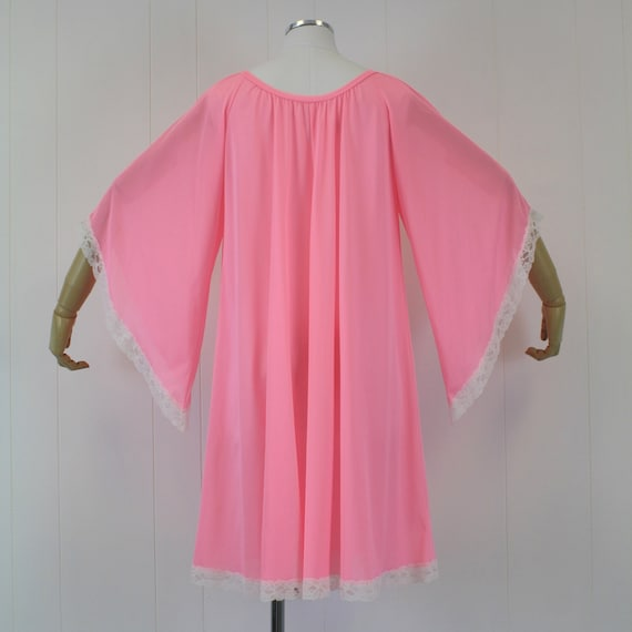 1970s Lucie Ann Pink Angel Wing Sleeve Nightgown … - image 6