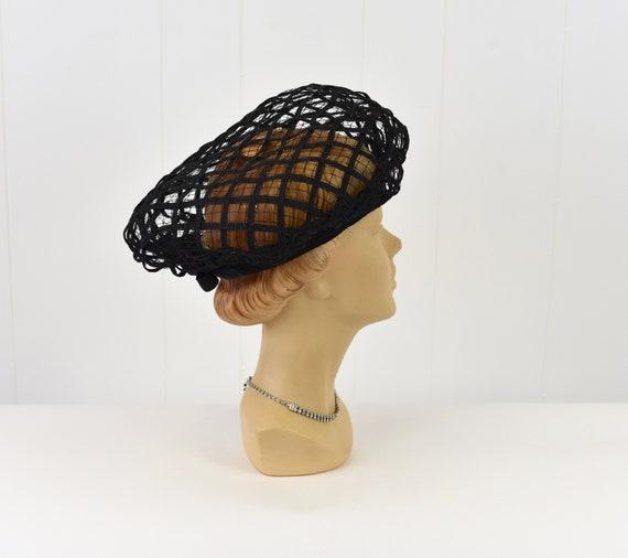 1960s Christian Dior Black Net Hat - image 5