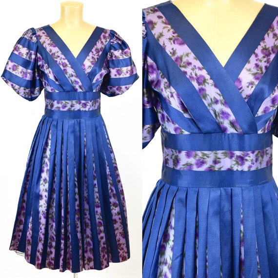 1950's Gay Gibson Striped Floral Dress