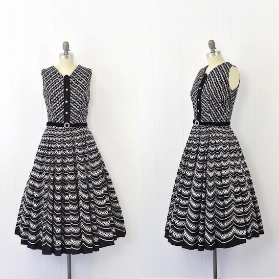 1950's Gingham Trompe L'oeil Style Dress