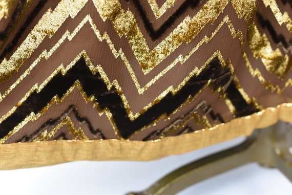 1970s Adolfo Chevron Metallic Skirt - image 9