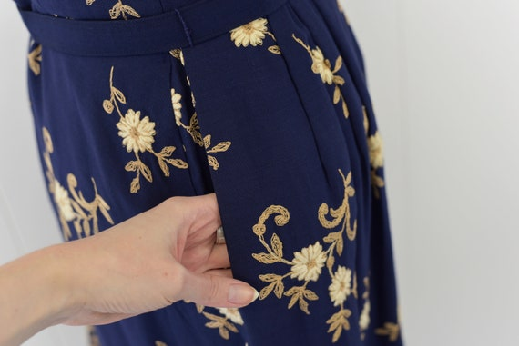 1940's Navy Floral Embroidered Dress - image 8
