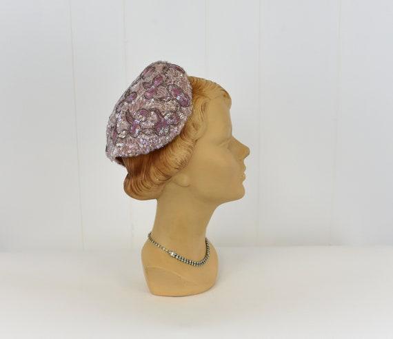 1950s Pink Sequin & Bead Skull Cap Hat - image 4