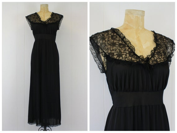 1950s Black Nightgown Lingerie Lace Nylon