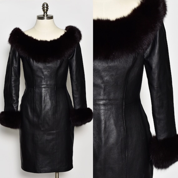 1980's North Beach Leather & Fox Fur Dress