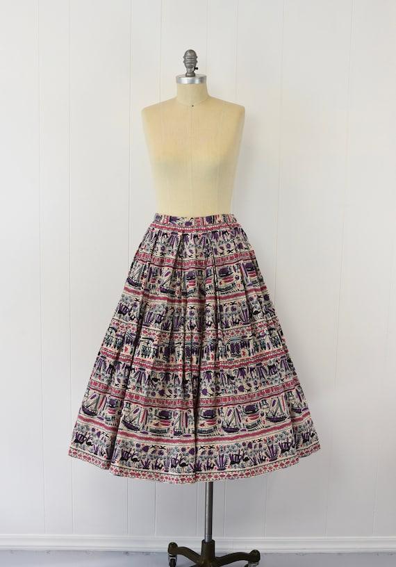 1950's Egyptian Novelty Print Skirt - image 2