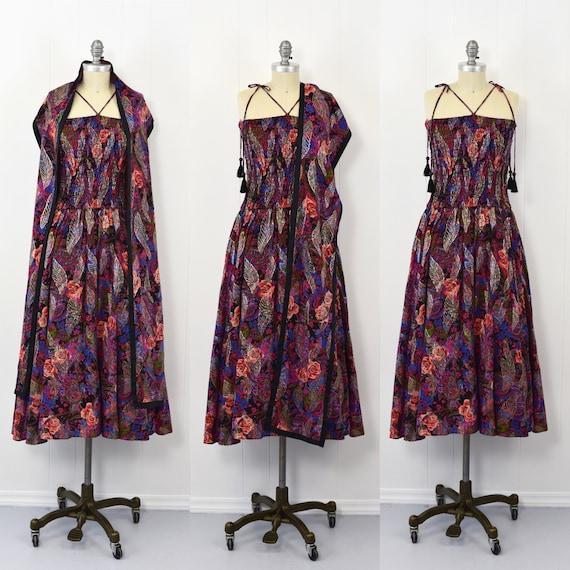 1970's/1980's Diane Freis Floral Dress & Wrap Set