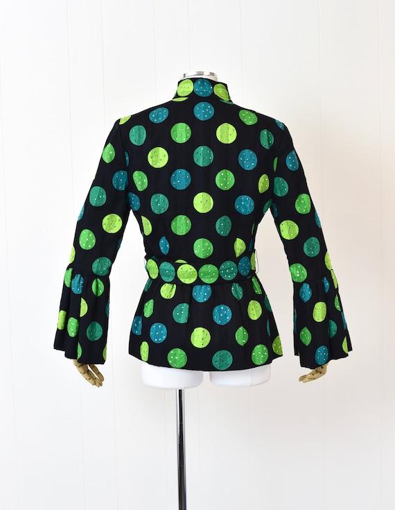 1980s Pauline Trigere Polka Dot Rhinestoned Jacket - image 7