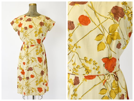 1950's Malia of Hawaii Rose Print Dress - image 1