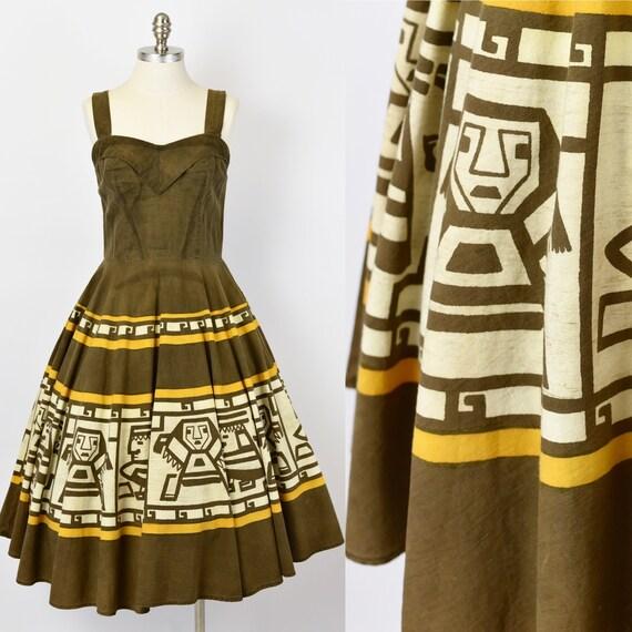 1950's Brown Aztec Novelty Print Dress