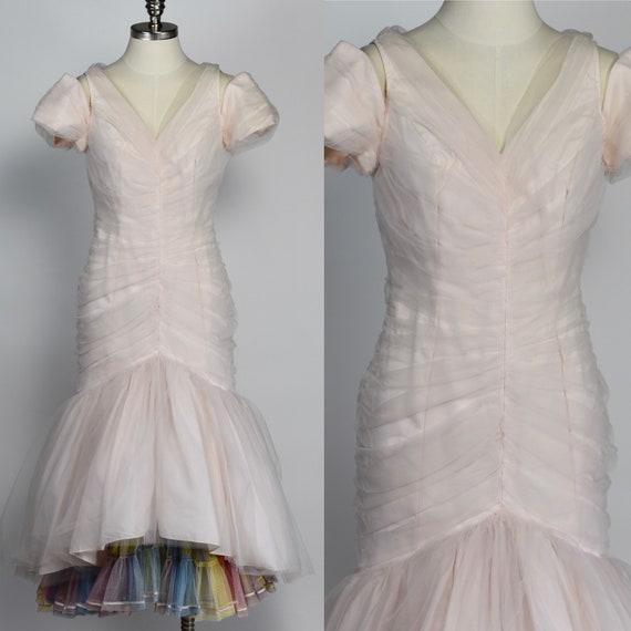 1980's Soft Pink Cupcake Dress with Rainbow Crinol