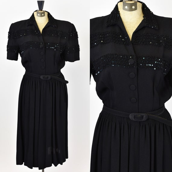 1940's Black Rayon Dress