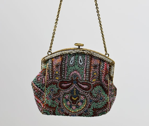 1930's Colorful Beaded Purse - image 2