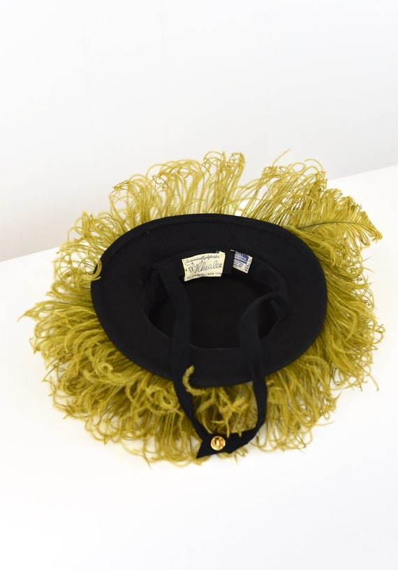 1940's Chartreuse Feathered Hat - image 7