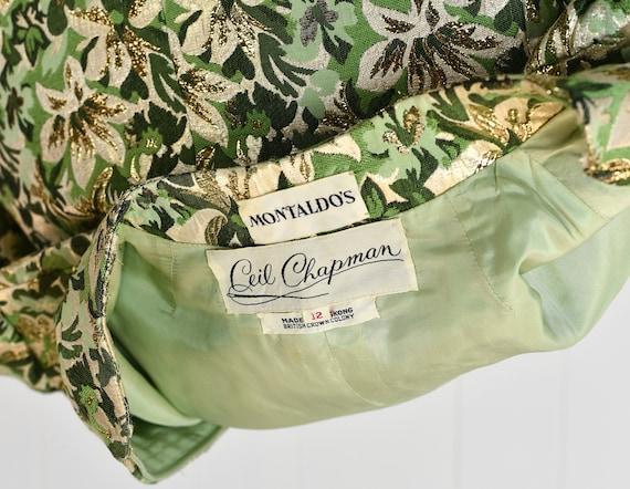 1960s Ceil Chapman Green Floral Metallic Two Piec… - image 10