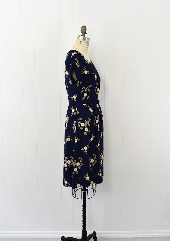 1940's Navy Floral Embroidered Dress - image 6