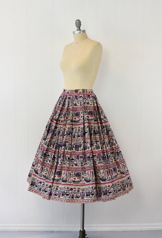 1950's Egyptian Novelty Print Skirt - image 3