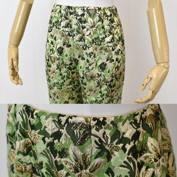 1960s Ceil Chapman Green Floral Metallic Two Piec… - image 9