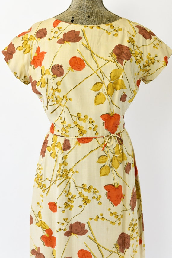 1950's Malia of Hawaii Rose Print Dress - image 4