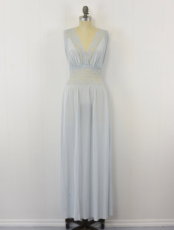 1950's Blue Floral Lace Nightgown