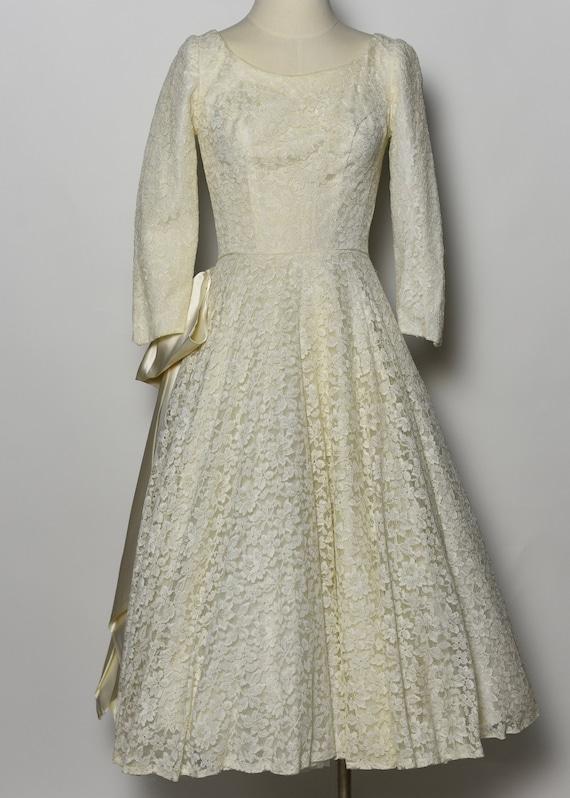 1950's White Lace Wedding Dress