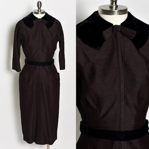 1940's Dark Brown Wiggle Dress