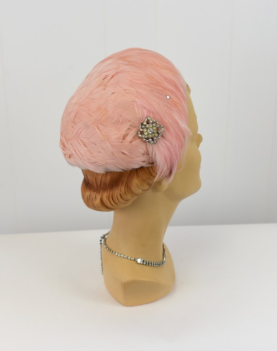1950s Pink Feathered Hat with Rhinestone Brooch - image 2