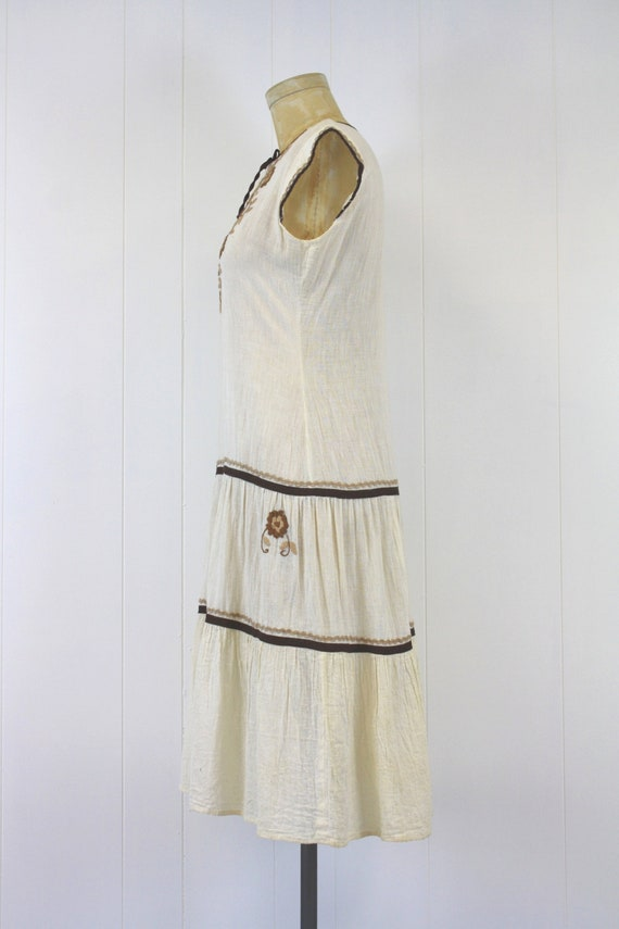 1970s Embroidered Cotton Gauze Peasant Dress - image 3