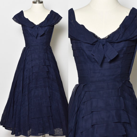 1950's Navy Blue Rappi Party Dress