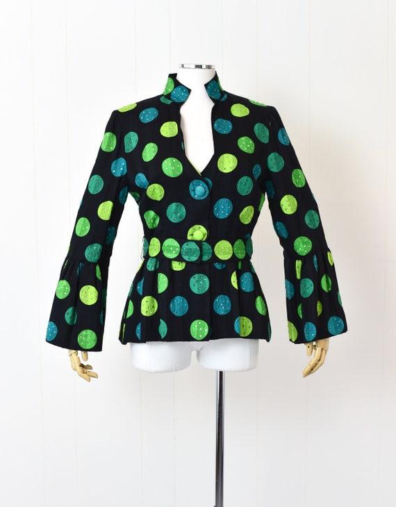 1980s Pauline Trigere Polka Dot Rhinestoned Jacket - image 1
