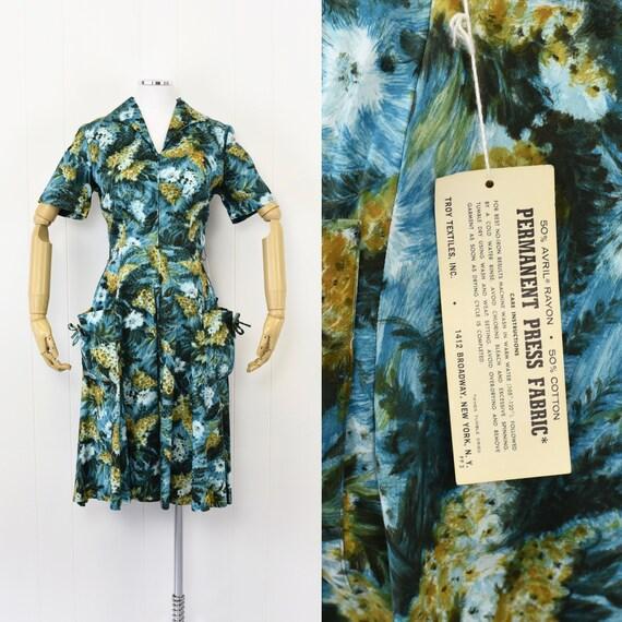 NOS 1950's Mode O' Day Blue Floral Dress