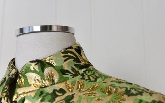 1960s Ceil Chapman Green Floral Metallic Two Piec… - image 5