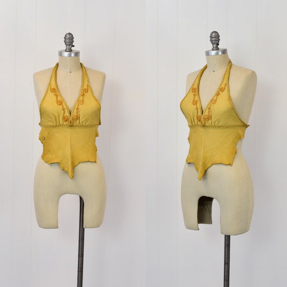 1970's Tan Leather Halter Top