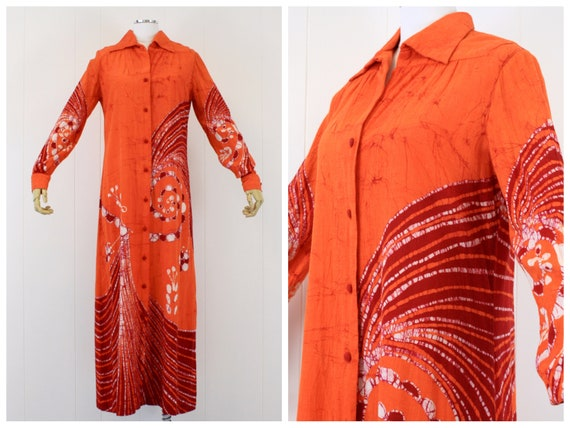 1970s Orange Batik Cotton Shirt Dress