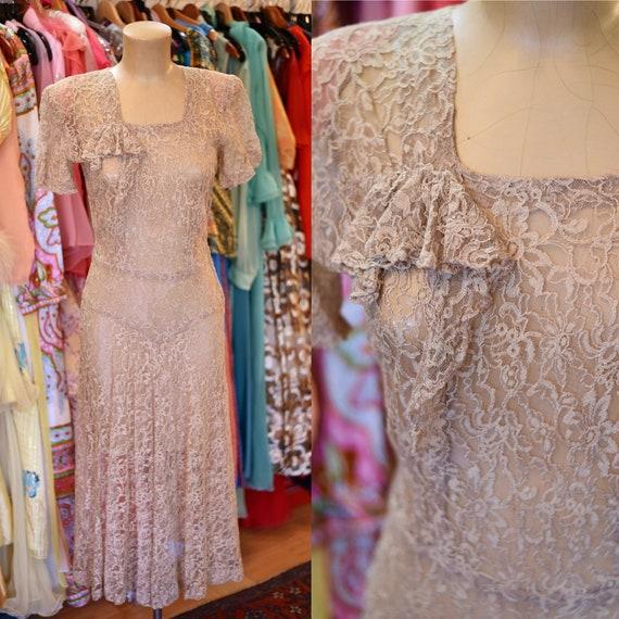 1940's Tan Sheer Lace Dress