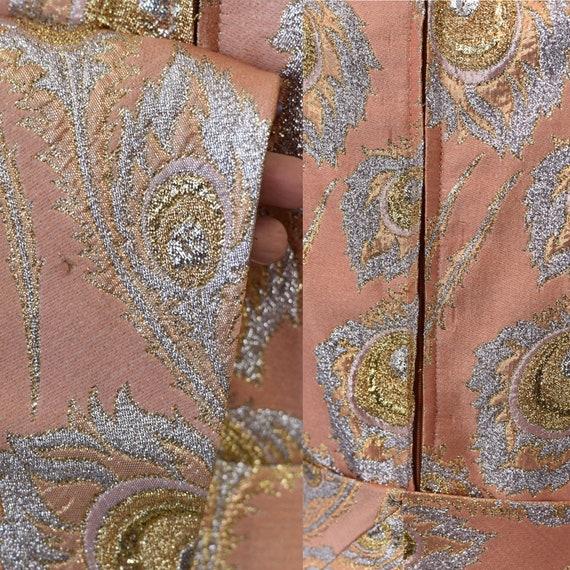 1960s Ceil Chapman Pink Brocade Metallic Peacock … - image 9